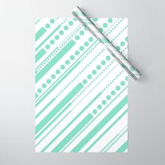 Dashes & Dots - Mint Green Wrapping Paper by laec | Society6 Green Wrapping Paper, Dash And Dot, Double Stick Tape, Mint Green, Wraps, Dots, Gift Wrapping, Stitches, Gift Wrapping Paper