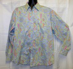 "NWTBrooklyn XpressL 50"" Shirt Blue Pink Paisley Long Sleeve Button BXW 20 Long #BROOKLYNXPRESS #ButtonFront"