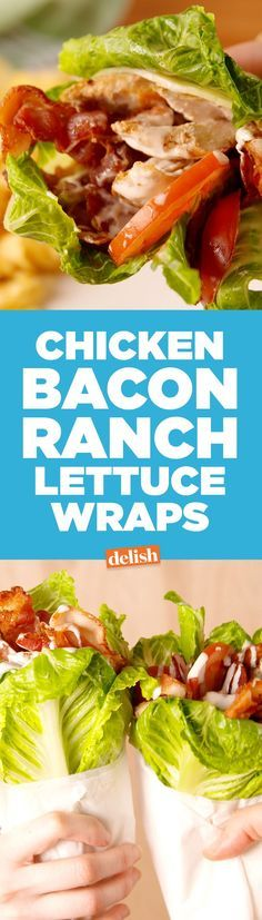 Chicken Bacon Ranch Lettuce Wraps are the easiest way to ditch carbs. Get the recipe on http://Delish.com.