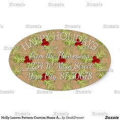 Holly Leaves Pattern Custom Name Address Label Oval Sticker. Unique, classic, trendy, pretty and decorative Holiday season address label. Beautiful, unique, classic, trendy, pretty and decorative red and green holly leaves and berries pattern on a faux gold glitter background. With room to customize or personalize with your name and address.