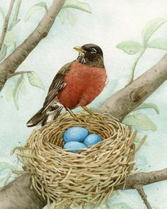 Bird Tree with Robin  8x10 archival by TracyLizotteStudios on Etsy, $22.00
