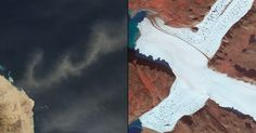 """A letra """"W"""" foi escrita com a poeira pairando em cima do Mar Vermelho e a letra """"X"""" foi vista em uma imagem com cores alteradas na ponta noroeste da geleira Leidy, na Groenlândia"""