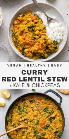 Curry Red Lentil Stew with Kale & Chickpeas – The Simple Veganista Curry Red Lentil Stew features tender lentils, tomatoes, onion, ginger and flavorful spices mixed with chickpeas and kale for healthy weeknight meal that's easy to make! Red Lentil Recipes, Veggie Recipes, Indian Food Recipes, Whole Food Recipes, Vegetarian Recipes, Cooking Recipes, Healthy Recipes, Veggie Food, Cooking Tips