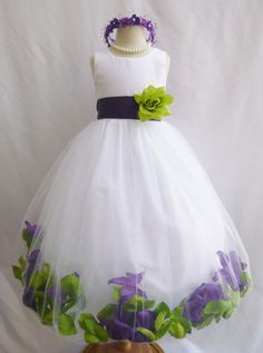 CUSTOM COLOR Flower Girl Dresses Rose Petal by NollaCollection