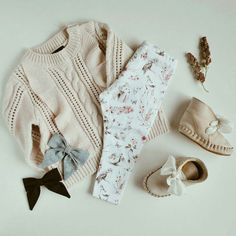 Winter outfit featuring Lulu and Milly leggings and sailor bows. Bardot jnr knit and Donsje Amsterdam shoes. Organic woodland leggings
