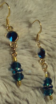 Lovely Teal Blue Drop Earrings with Teal Blue Faceted Glass Beads and Blue Crystal Earrings by JewelryByTracyO on Etsy