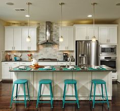 white kitchen with turquoise bar stools