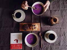 朝食紫芋のポタージュCIRUのマフィン主人の誕生日29歳の目標は仕事に励む家庭円満を続けるだそうなおめでとうとありがとう by saki.52
