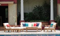 New Luxurious 6 Piece Teak Sofa Set - Sofa, 2 Lounge Chairs, Ottoman, Rectangle Coffee Table And Side Table -Furniture only --Sack Collection