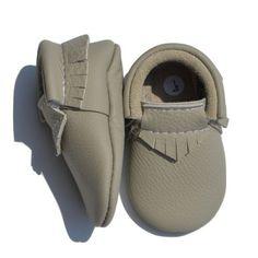Baby Moccasins - Genuine Leather - Greyson (Pale Grey)