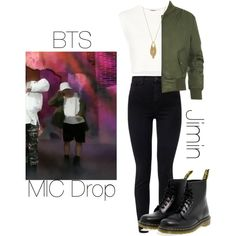 BTS MIC Drop Jimin inspired outfit by melaniecrybabyz on Polyvore featuring polyvore, fashion, style, Puma, WearAll, J Brand, Dr. Martens, Jessica Simpson and clothing