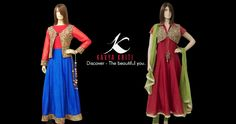 Captivating Chanderi anarkali's with waist coat and shrug.