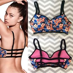 PINK Victoria's Secret Accessories - Blue Floral Cage Strappy Back Pink Outfits, Cute Outfits, Summer Outfits, Cute Underwear, Victoria Secret Bikini, Cute Bathing Suits, Lingerie, Pink Bra, Bikini Swimwear
