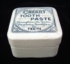 RARE Square English Victorian CHERRY Fruit Tooth Paste Pot + Lid 1880 found at www.rubylane.com Wabi Sabi, Old Crocks, Vintage Advertising Signs, Cherry Fruit, Pot Lids, Vintage Labels, Vintage China, Butter Dish, Tooth Paste