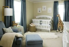 Chic and sophisticated boy's nursery. #nursery. Would replace white with brown furniture