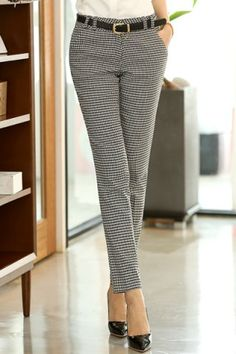 Chic Stye Straight Leg Houndstooth Pockets Pants