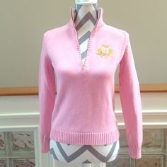 Ralph Lauren Quarter Zip Sweater Pretty pale pink Ralph Lauren quarter-zip sweater! Has a gold embroidered logo on the left breast, as shown in the 4th picture. Sweater is in great condition and has been taken very well care of! 🚫Trades🚫PayPal Ralph Lauren Sweaters