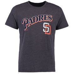 San Diego Padres Majestic Threads Cooperstown Wordmark Logo Tri-Blend T-Shirt - Navy - $32.99