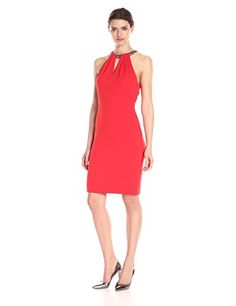 Carmen Marc Valvo Infusion Womens Chunky Beaded Choker Short Crepe Dress Red 8 ** To view further for this item, visit the image link.(This is an Amazon affiliate link)
