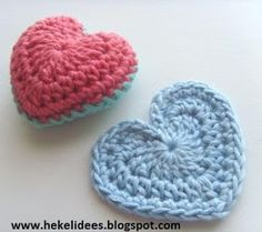 Hekel Idees: Hartjies, hartjies, hartjies! Crochet Squares, Crochet Motif, Crochet Flowers, Knit Crochet, Crochet Hearts, Crochet Thread Patterns, Valentine Heart, Crochet Projects, Needlework