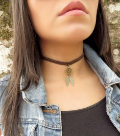 Choker Necklace Suede Choker Necklace Bohemian Feather