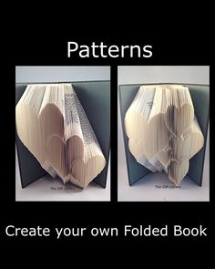 Book folding PATTERNS,3 Descending Hearts -to Create your own folded book art