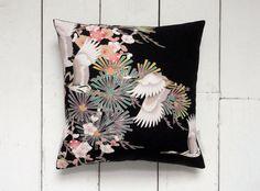 Art Deco vibes. Black & White Vintage Japanese Kimono Silk Fabric Cushion Pillow 'Pines and Cranes' (1930's)