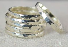 Super Thin Sterling Silver Stackable Ring(s), Silver Stacking RIngs, Silver RIng Dainty Simple Silver Ring Hammered Silver Rings Silver Band Silver Stacking Rings, Stackable Rings, Silver Rings, Jewelry Rings, Silver Jewelry, Diamond Jewelry, Jewellery Box, Glass Jewelry, Jewelery
