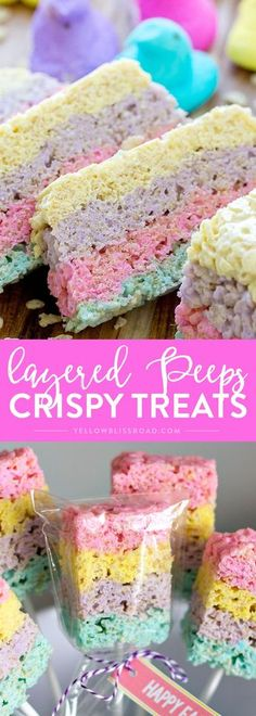 Layered Peeps Crispy Treats are Rice Krispie Treats with a twist - they're made with Peeps and layered for a colorful Easter treat! Rice Krispie Treats with a twist - they're made with marshmallow Peeps and layered for a beautiful, colorful Easter treat! Rice Crispy Treats, Krispie Treats, Rice Krispie Easter Treats, Rice Krispie Cakes, Holiday Treats, Holiday Recipes, Desserts Ostern, Marshmallow Peeps, Cereal Treats