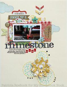 #papercraft #scrapbook #layout. Rhinestone Girl - Scrapbook.com