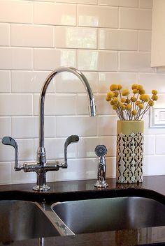 kitchen backsplash subway tile tile kitchen backsplash from Install Kitchen Tile Backsplash Black Granite Countertops, Kitchen Countertops, Kitchen Backsplash, Diy Kitchen, Kitchen Sink, Kitchen White, Kitchen Design, Kitchen Decor, Clean Granite