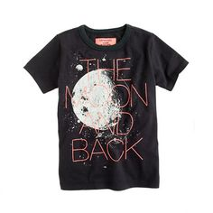 Coal tee with slogan 'the moon and back'. Tougher looking tee, but the slogan reminds me of the saying 'I love you to the moon and back'.