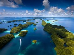 rock islands of palau. Palau is an archipelago of about 250 islands, located in the western Pacific Ocean. It is its own country – the Republic of Palau, although geographically it is part of the larger island group of Micronesia. Places To Travel, Places To See, Travel Destinations, Dream Vacations, Vacation Spots, Honeymoon Spots, Romantic Vacations, Vacation Travel, Italy Vacation