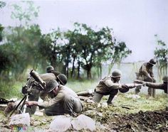 """Troops of the US Infantry Division (African-American """"Buffalo Soldiers"""") firing mortars, Massa, Italy, November 1944 (US National Archives) Nagasaki, Hiroshima, Fukushima, South East Europe, New Orleans Museums, Japanese American, United States Army, History Photos, American Soldiers"""