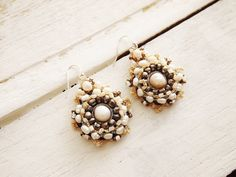 Silk and Pearl Crochet Chandelier Wedding Earrings by KayaBridal, $75.00