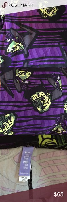 TC Lularoe halloween Frankenstein witch leggings Dark purple with black stripes and witches and Frankensteins all over them! TC fits sizes 10-18! Buttery softy! LuLaRoe Pants Leggings