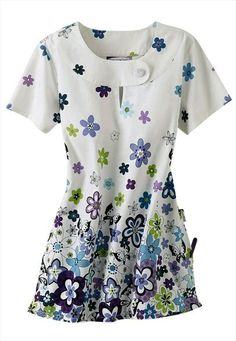 Bring a spark of creativity to your nursing uniform with print and graphic scrub tops for women. Order fun scrubs at Scrubs & Beyond today! Medical Uniforms, Nursing Uniforms, African Fashion Dresses, Fashion Outfits, Stylish Scrubs, Cute Scrubs, Scrubs Uniform, Dress Neck Designs, Uniform Design