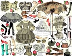 ART TEA LIFE Paper Dolls Collage Sheet from onecrabapple etsy shop
