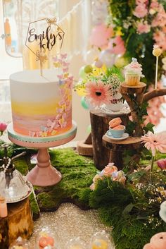 Cake + cake table from a Woodland Butterfly Tea Party on Kara's Party Ideas Fairy Birthday Cake, Butterfly Birthday Cakes, Cake Table Birthday, Baby Girl 1st Birthday, Girl Birthday Themes, Tea Party Birthday, Birthday Ideas, Dessert Party, Dessert Tables