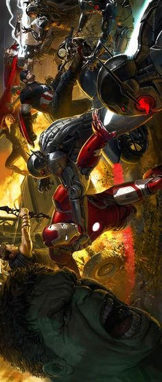 Avengers: Age of Ultron concept art by Ryan Meinerding Avengers Team, Marvel Avengers Assemble, Marvel Films, Marvel Heroes, Johnlock, Destiel, Best Avenger, Age Of Ultron, Amazing Drawings