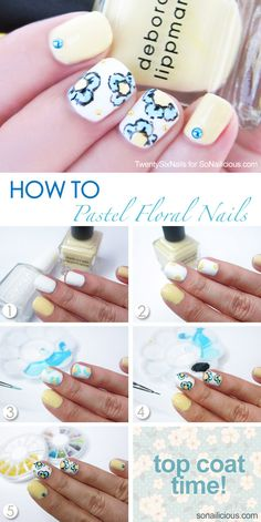 Floral Spring Nails How To: http://sonailicious.com/pastel-floral-nails-how-to/