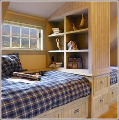 Perfect for an attic turned spare room in the loft of a guest room? Loft beds in an A-frame Option for attic room for an attic guest/childrens bedroom. Attic Bedroom Designs, Attic Bedroom Small, Attic Rooms, Bedroom Boys, Childrens Bedroom, Small Rooms, Boy Room, Attic Bathroom, Design Bedroom