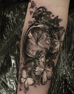 Watch and butterfly tattoo - 100 Awesome Watch Tattoo Designs  <3 <3