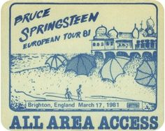 OTTO Passes - Satin Stick On Backstage Pass - Bruce Springsteen - 1981 Brighton England