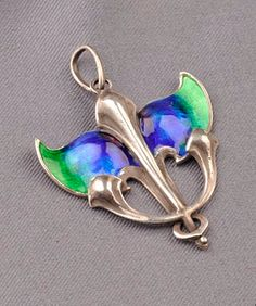 Arts & Crafts Silver and Enamel Pendant, William H. Haseler, with blue and green enamel, lg. 1 5/8 in., marked W.H.H.