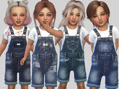 Sims 4 CC's - The Best: Denim Short Overalls(Toddlers) by Pinkzombiecupcak...