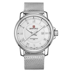 #Zapals - #Zapals Naviforce 9052 Mens Stainless Steel Mesh Band Wrist Watch with Date Window - AdoreWe.com