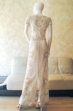 Lace Wedding Dress Bridal Made From Original Nottingham Two Tone Boho Beach Gown