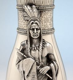 Detail of the Native American on the Joseph Heinrichs: The Aztec Vase Massive Antique Sterling Silver Vase, New York City, c. 1905