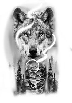 Wolf Tattoo Design, Tattoo Design Drawings, Tattoo Sleeve Designs, Wolf Tattoo Sleeve, Lion Tattoo, Sleeve Tattoos, Tattoo Wolf, Wolf Tattoos Men, Animal Tattoos